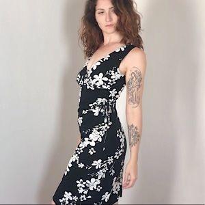 90s Midi Black and White Floral Dress